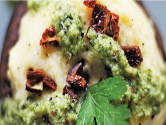 Ciuperci prajite imbalsmate cu pesto de rozmarin si linte